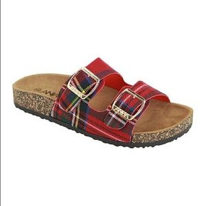 Anna Red Plaid Dbl Buckle Sandals 7 Glory Flannel